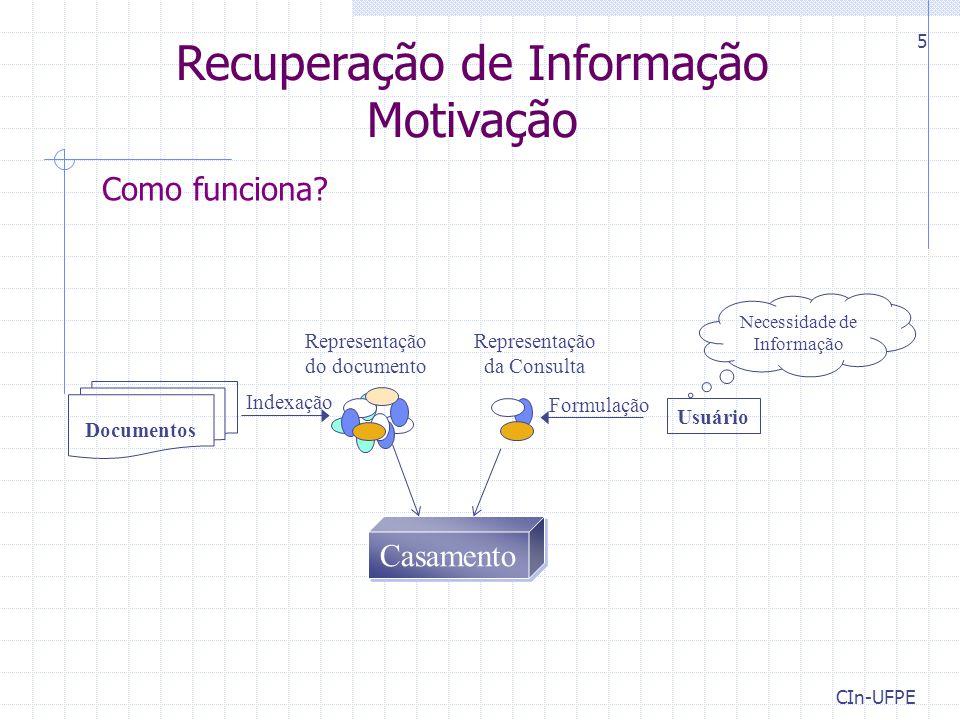 CIn-UFPE 5 Como funciona? Necessidade de Informação Casamento Documentos Indexação Representação da Consulta Representação do documento Formulação Rec