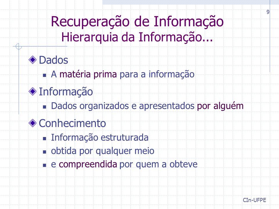 Recuperação de Informação Hierarquia da Informação... Dados A matéria prima para a informação Informação Dados organizados e apresentados por alguém C