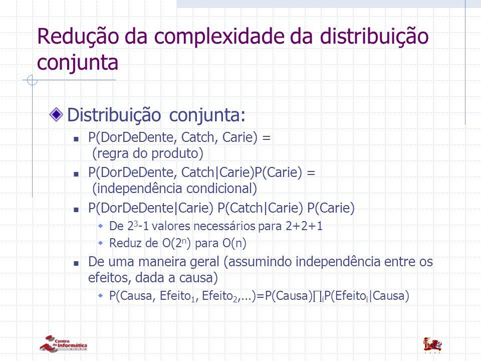 14 Redução da complexidade da distribuição conjunta Distribuição conjunta: P(DorDeDente, Catch, Carie) = (regra do produto) P(DorDeDente, Catch|Carie)P(Carie) = (independência condicional) P(DorDeDente|Carie) P(Catch|Carie) P(Carie)  De 2 3 -1 valores necessários para 2+2+1  Reduz de O(2 n ) para O(n) De uma maneira geral (assumindo independência entre os efeitos, dada a causa)  P(Causa, Efeito 1, Efeito 2,...)=P(Causa)  i P(Efeito i |Causa)