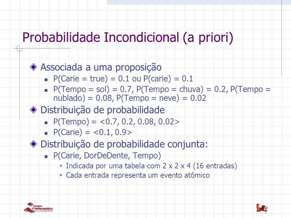 6 Probabilidade Incondicional (a priori) Associada a uma proposição P(Carie = true) = 0.1 ou P(carie) = 0.1 P(Tempo = sol) = 0.7, P(Tempo = chuva) = 0.2, P(Tempo = nublado) = 0.08, P(Tempo = neve) = 0.02 Distribuição de probabilidade P(Tempo) = P(Carie) = Distribuição de probabilidade conjunta: P(Carie, DorDeDente, Tempo)  Indicada por uma tabela com 2 x 2 x 4 (16 entradas)  Cada entrada representa um evento atômico