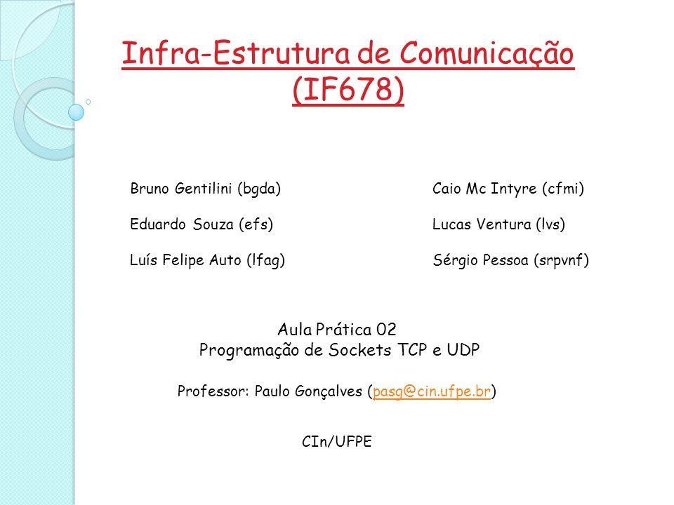 Infra-Estrutura de Comunicação (IF678) Aula Prática 02 Programação de Sockets TCP e UDP Professor: Paulo Gonçalves (pasg@cin.ufpe.br)pasg@cin.ufpe.br CIn/UFPE Bruno Gentilini (bgda) Eduardo Souza (efs) Luís Felipe Auto (lfag) Caio Mc Intyre (cfmi) Lucas Ventura (lvs) Sérgio Pessoa (srpvnf)