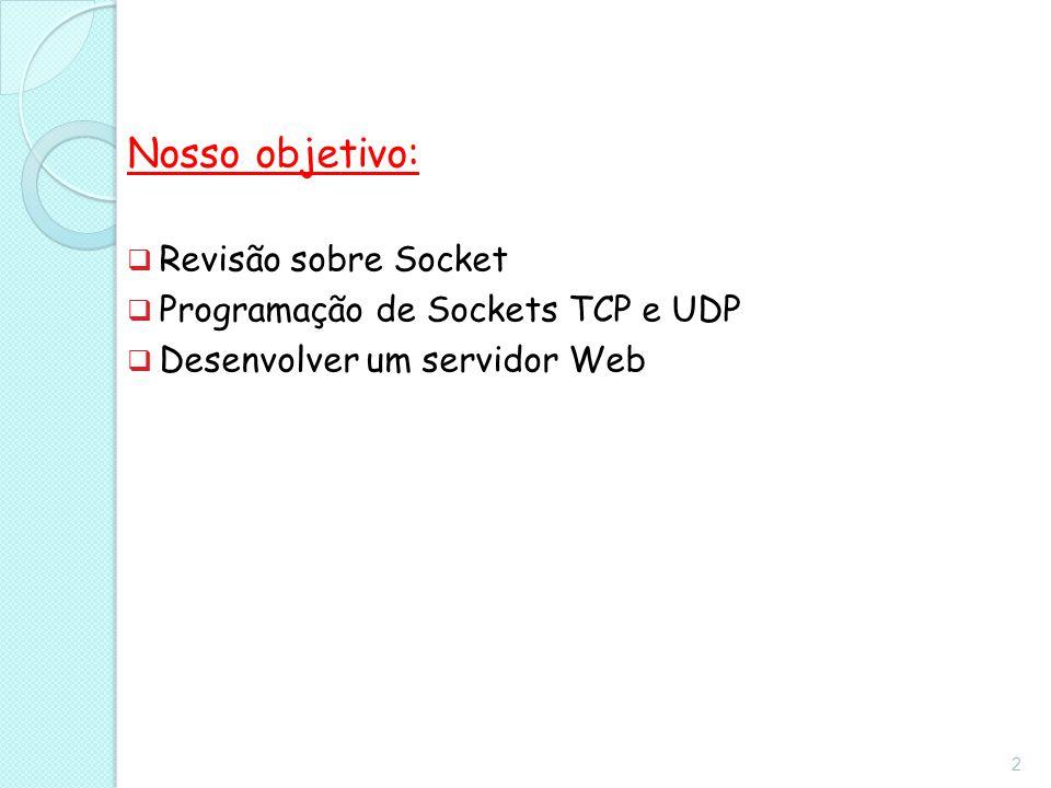 Nosso objetivo:  Revisão sobre Socket  Programação de Sockets TCP e UDP  Desenvolver um servidor Web 2