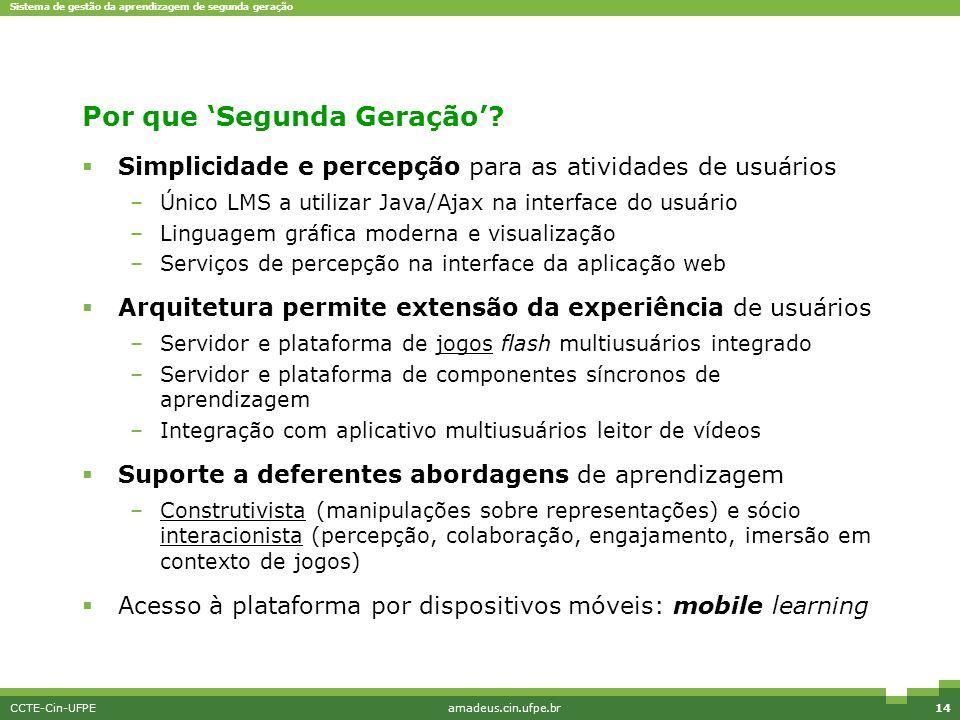 Sistema de gestão da aprendizagem de segunda geração CCTE-Cin-UFPEamadeus.cin.ufpe.br14 Por que 'Segunda Geração'?  Simplicidade e percepção para as