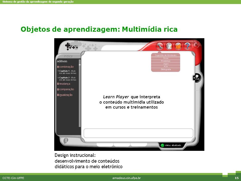 Sistema de gestão da aprendizagem de segunda geração CCTE-Cin-UFPEamadeus.cin.ufpe.br15 Design instrucional: desenvolvimento de conteúdos didáticos pa