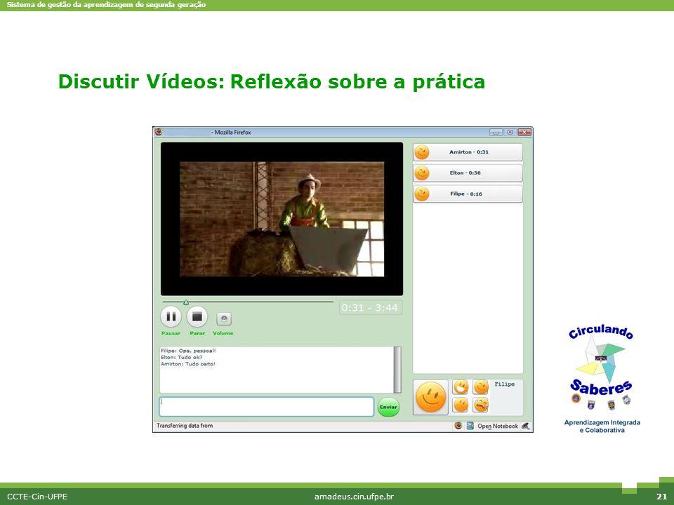 Sistema de gestão da aprendizagem de segunda geração CCTE-Cin-UFPEamadeus.cin.ufpe.br21 Discutir Vídeos: Reflexão sobre a prática