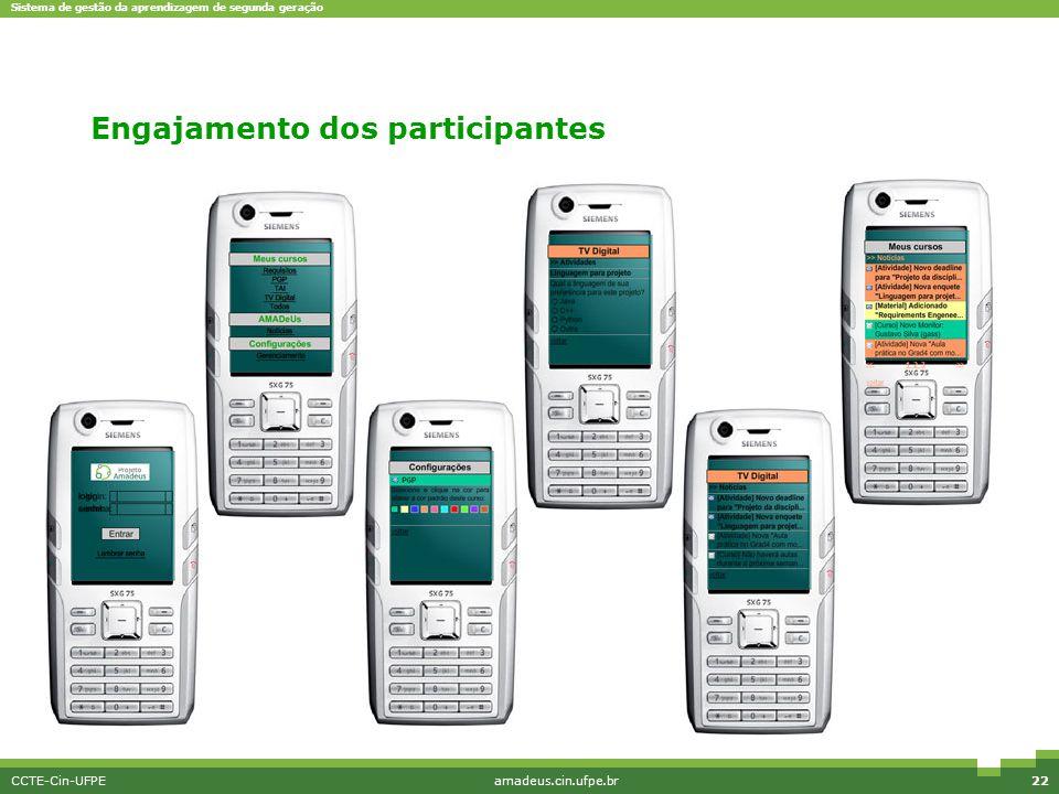 Sistema de gestão da aprendizagem de segunda geração CCTE-Cin-UFPEamadeus.cin.ufpe.br22 M-Learning Engajamento dos participantes