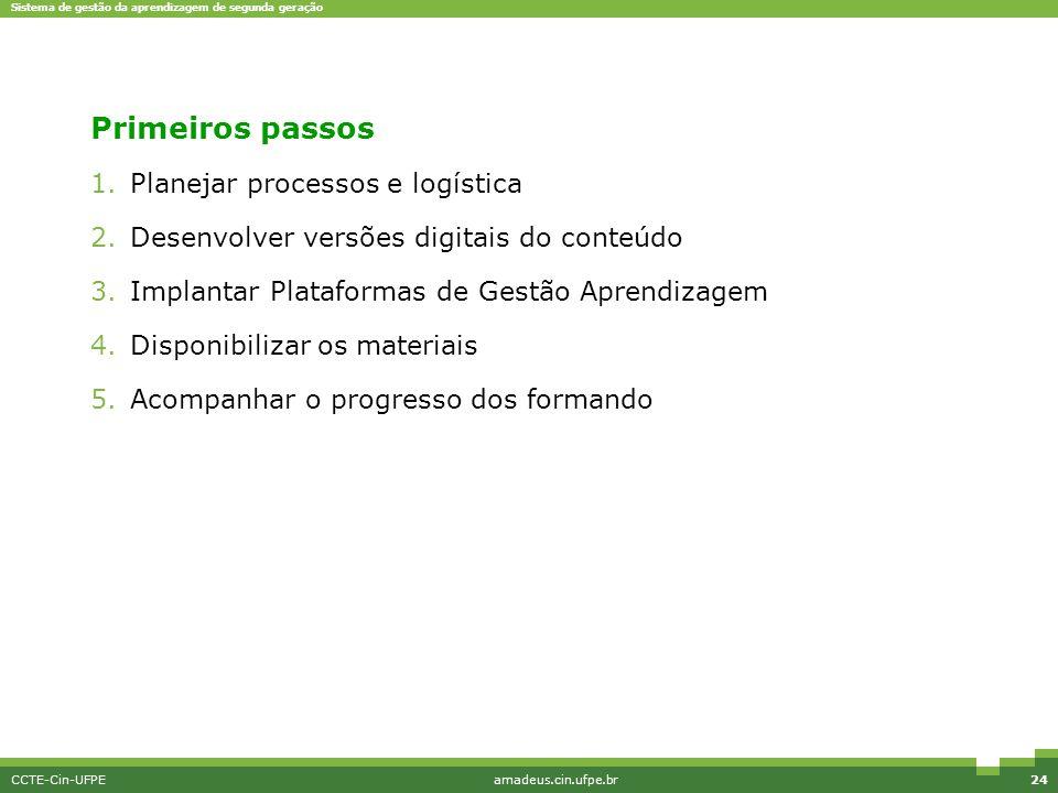 Sistema de gestão da aprendizagem de segunda geração CCTE-Cin-UFPEamadeus.cin.ufpe.br24 Primeiros passos 1.Planejar processos e logística 2.Desenvolve