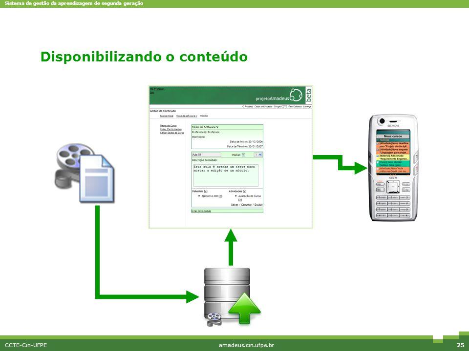 Sistema de gestão da aprendizagem de segunda geração CCTE-Cin-UFPEamadeus.cin.ufpe.br25 Disponibilizando o conteúdo