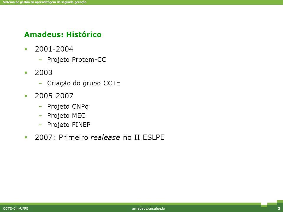 Sistema de gestão da aprendizagem de segunda geração CCTE-Cin-UFPEamadeus.cin.ufpe.br34 1ª Versão: Agosto de 2007 Cadastro Avaliação Jogos Mobile SDMM Prototipagem Especificação Implementação 100% 70% 40% 50% 0% 20% 0% 100%