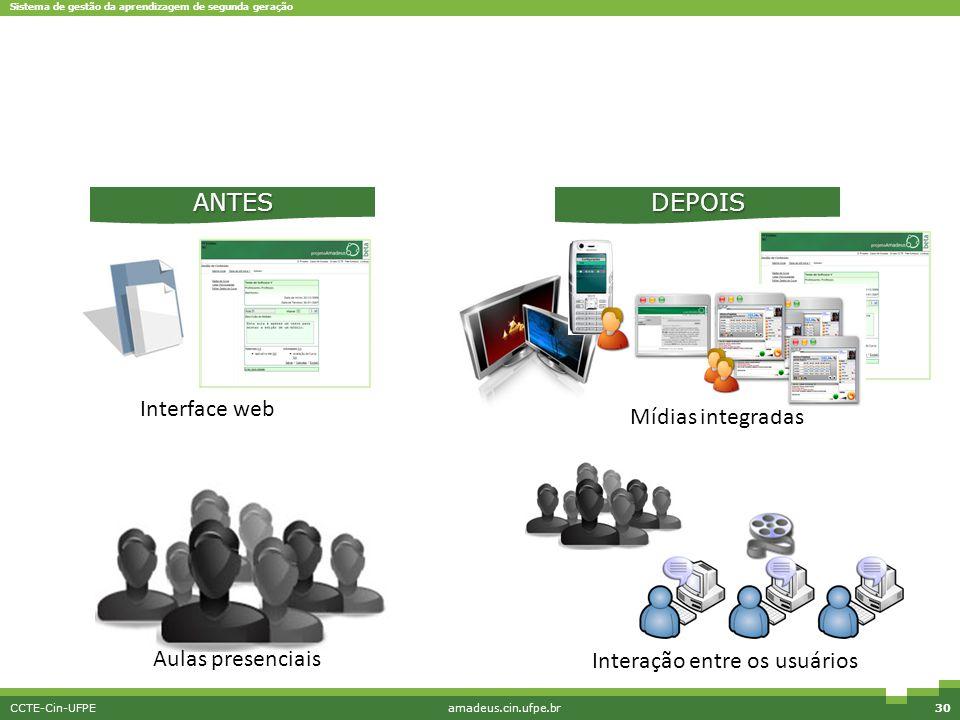 Sistema de gestão da aprendizagem de segunda geração CCTE-Cin-UFPEamadeus.cin.ufpe.br30 Interface web Mídias integradas Interação entre os usuários AN