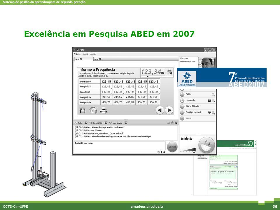 Sistema de gestão da aprendizagem de segunda geração CCTE-Cin-UFPEamadeus.cin.ufpe.br38 EriMont Excelência em Pesquisa ABED em 2007
