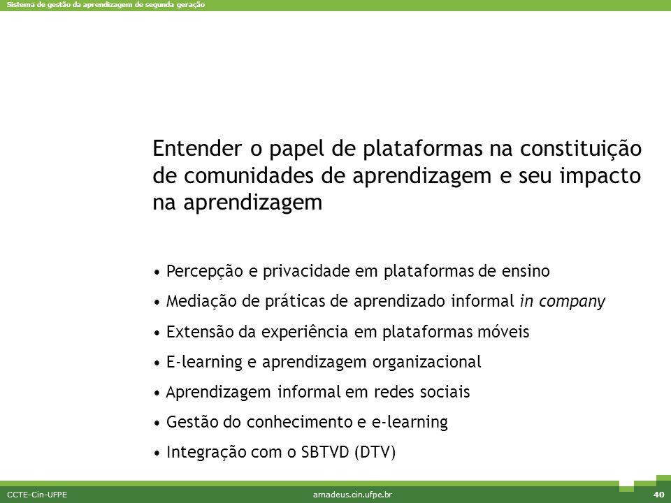 Sistema de gestão da aprendizagem de segunda geração CCTE-Cin-UFPEamadeus.cin.ufpe.br40 Pesquisa e Inovação Entender o papel de plataformas na constit
