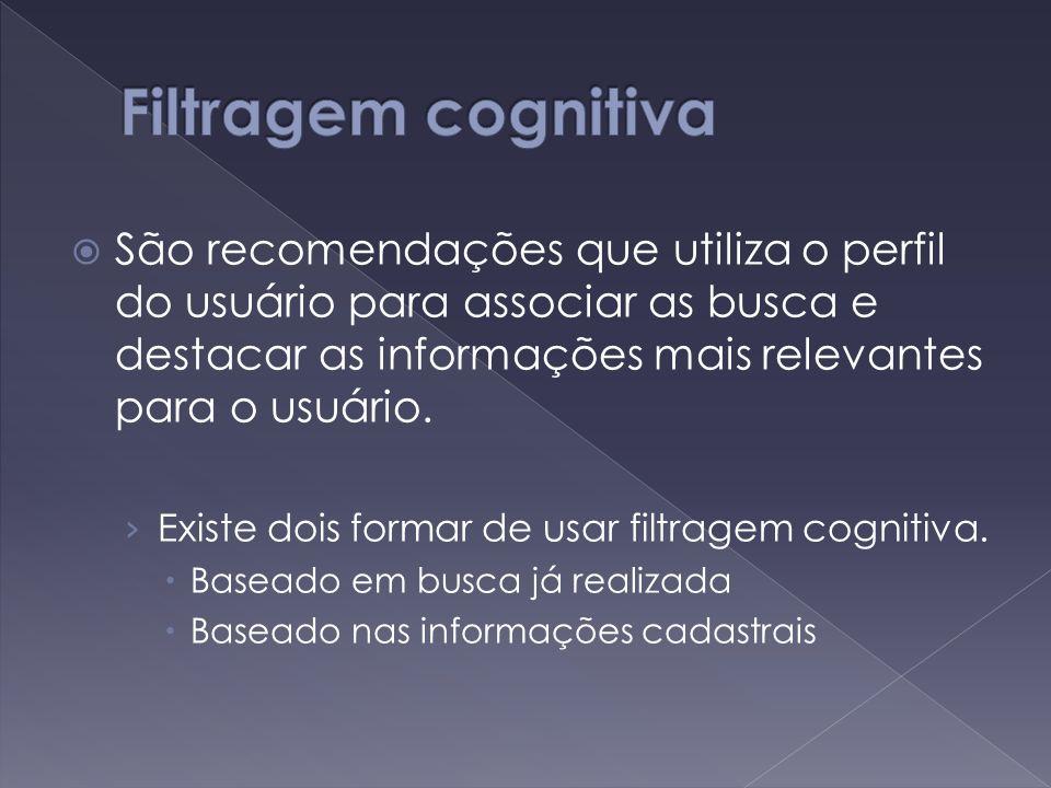  São recomendações que utiliza o perfil do usuário para associar as busca e destacar as informações mais relevantes para o usuário.