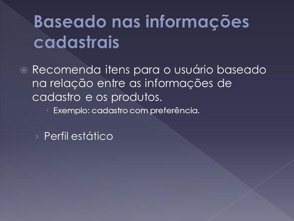  Recomenda itens para o usuário baseado na relação entre as informações de cadastro e os produtos.