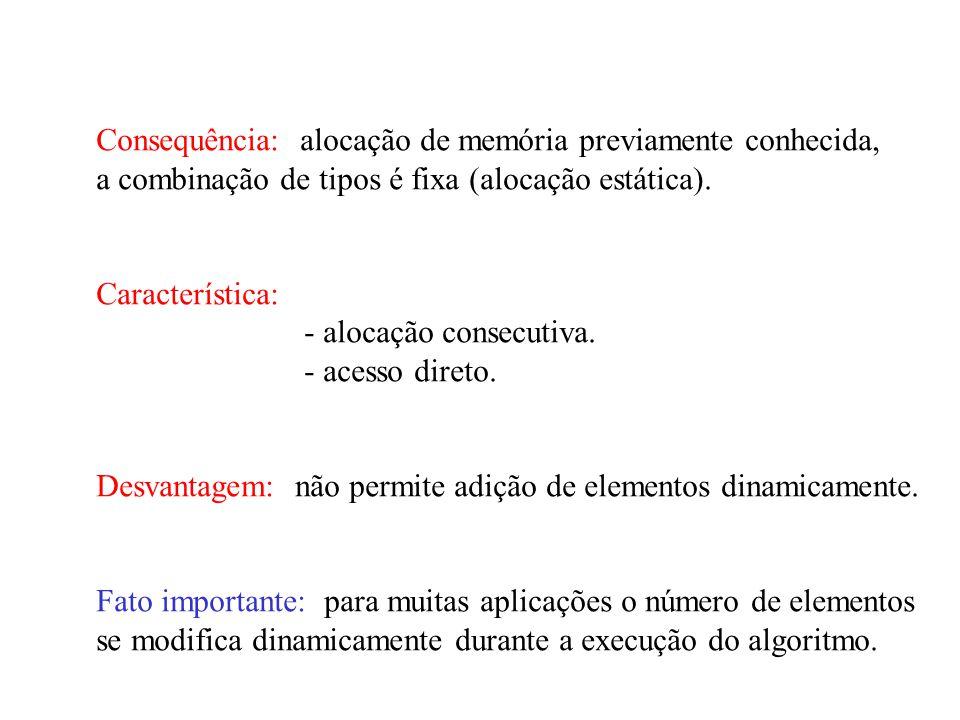 Consequência: alocação de memória previamente conhecida, a combinação de tipos é fixa (alocação estática).