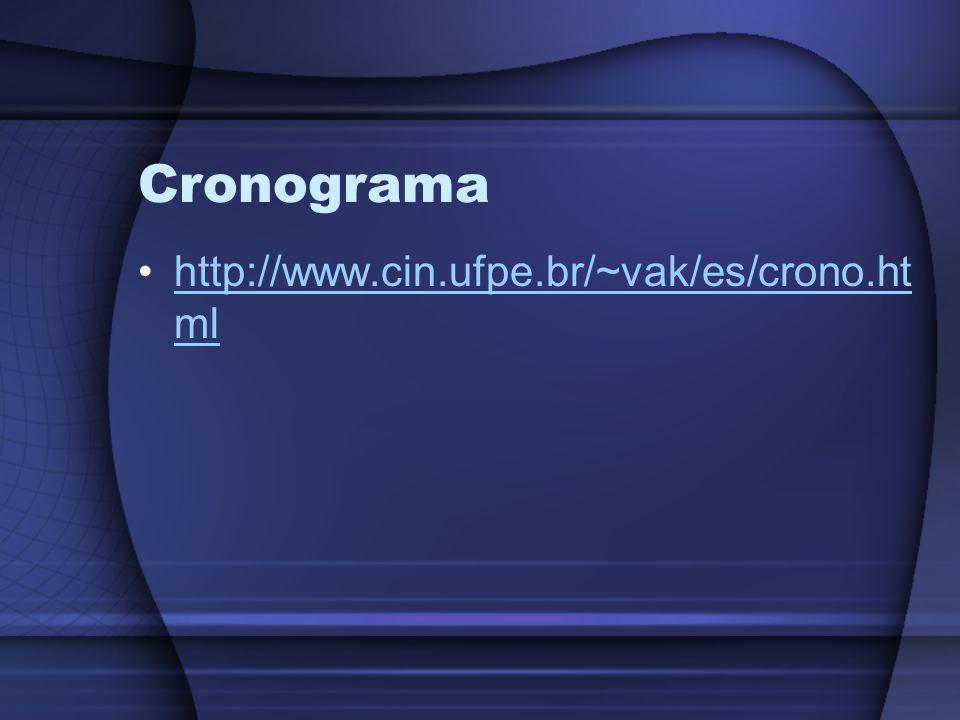 Cronograma http://www.cin.ufpe.br/~vak/es/crono.ht mlhttp://www.cin.ufpe.br/~vak/es/crono.ht ml