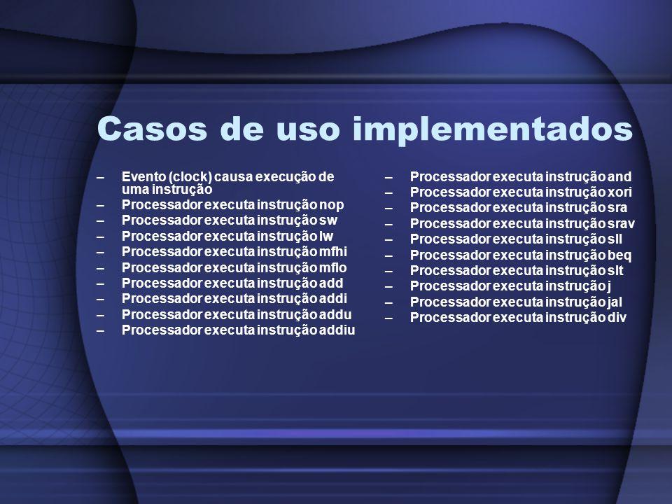 Casos de uso implementados –Evento (clock) causa execução de uma instrução –Processador executa instrução nop –Processador executa instrução sw –Processador executa instrução lw –Processador executa instrução mfhi –Processador executa instrução mflo –Processador executa instrução add –Processador executa instrução addi –Processador executa instrução addu –Processador executa instrução addiu –Processador executa instrução and –Processador executa instrução xori –Processador executa instrução sra –Processador executa instrução srav –Processador executa instrução sll –Processador executa instrução beq –Processador executa instrução slt –Processador executa instrução j –Processador executa instrução jal –Processador executa instrução div