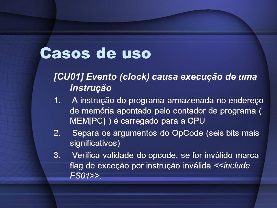 Casos de uso [CU01] Evento (clock) causa execução de uma instrução 1.
