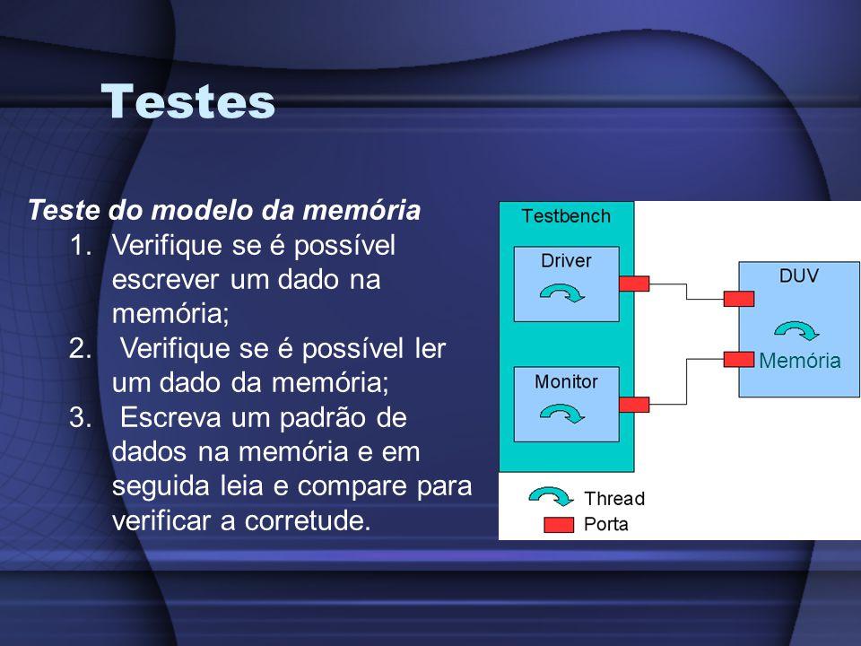 Testes Teste do modelo da memória 1.Verifique se é possível escrever um dado na memória; 2.