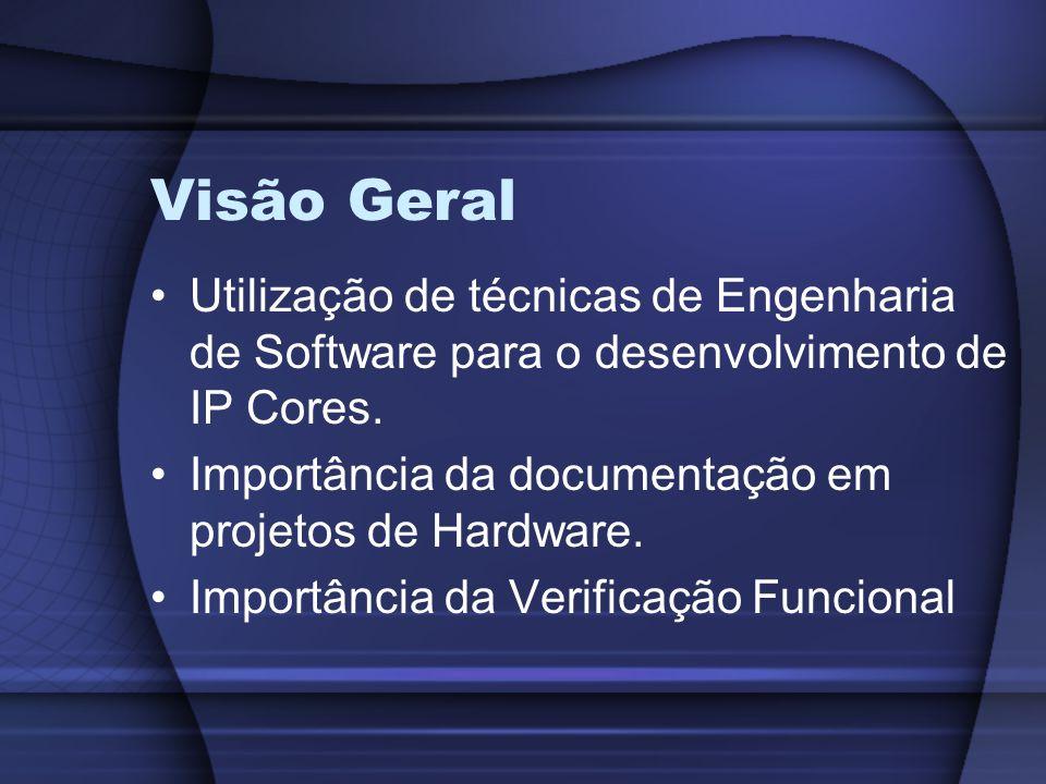 Visão Geral Utilização de técnicas de Engenharia de Software para o desenvolvimento de IP Cores.