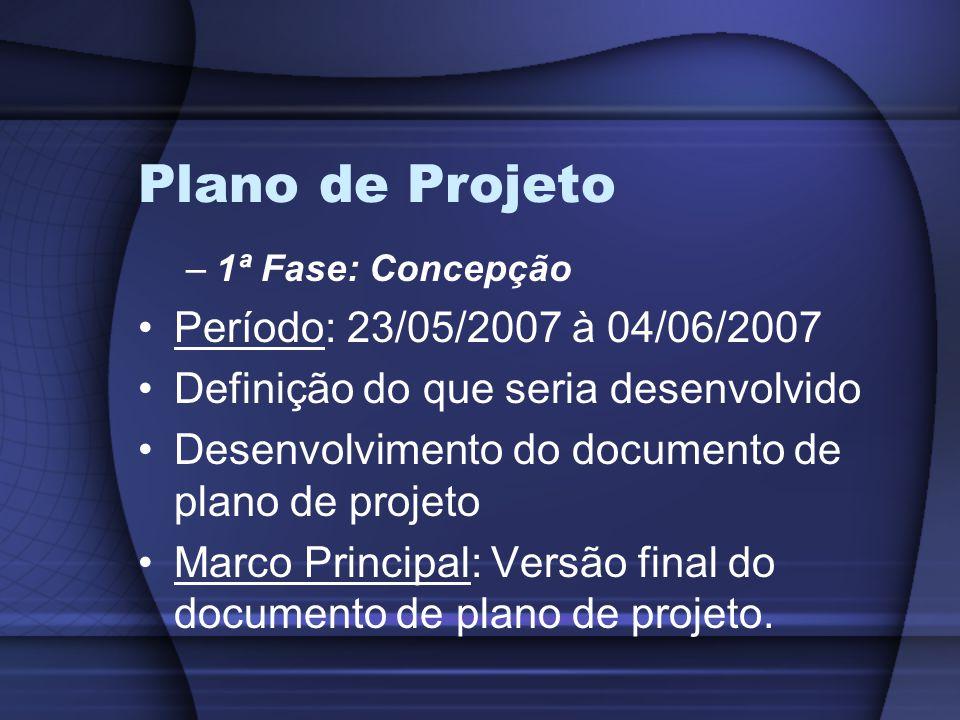 Plano de Projeto –1ª Fase: Concepção Período: 23/05/2007 à 04/06/2007 Definição do que seria desenvolvido Desenvolvimento do documento de plano de projeto Marco Principal: Versão final do documento de plano de projeto.