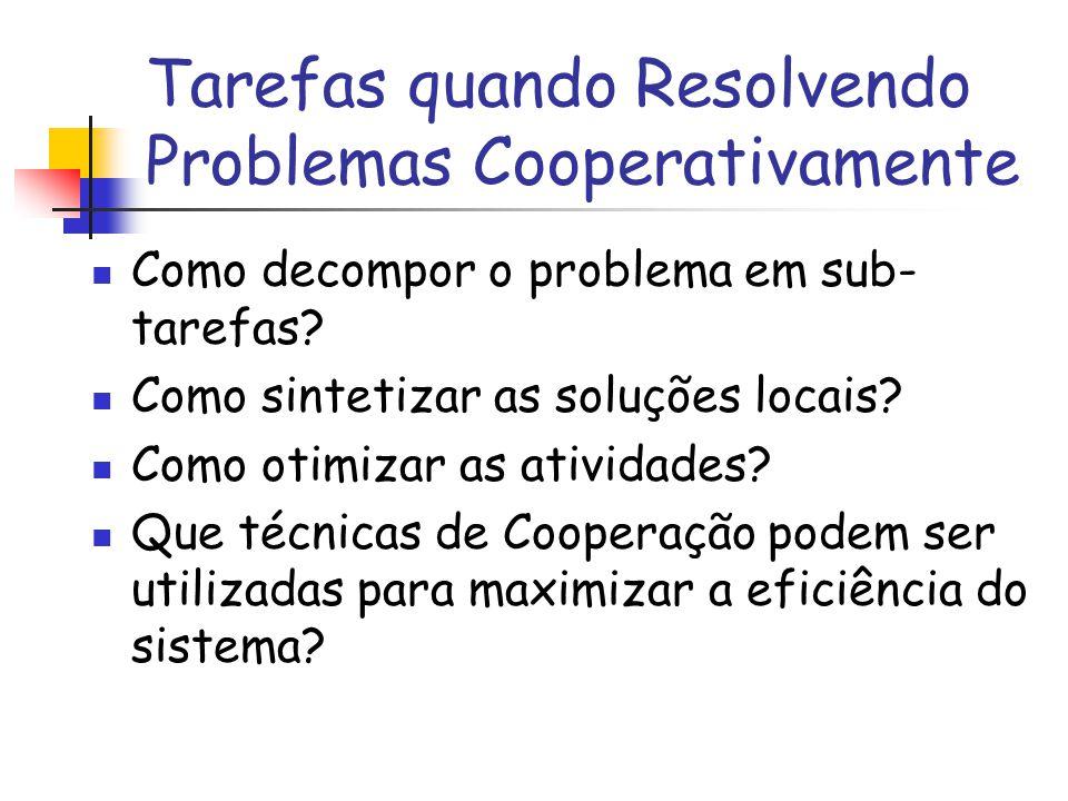 Tarefas quando Resolvendo Problemas Cooperativamente Como decompor o problema em sub- tarefas? Como sintetizar as soluções locais? Como otimizar as at