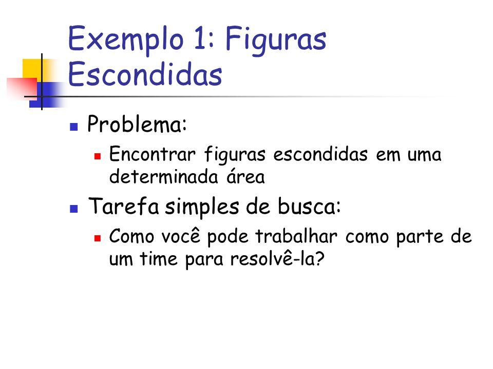 Exemplo 1: Figuras Escondidas Problema: Encontrar figuras escondidas em uma determinada área Tarefa simples de busca: Como você pode trabalhar como pa