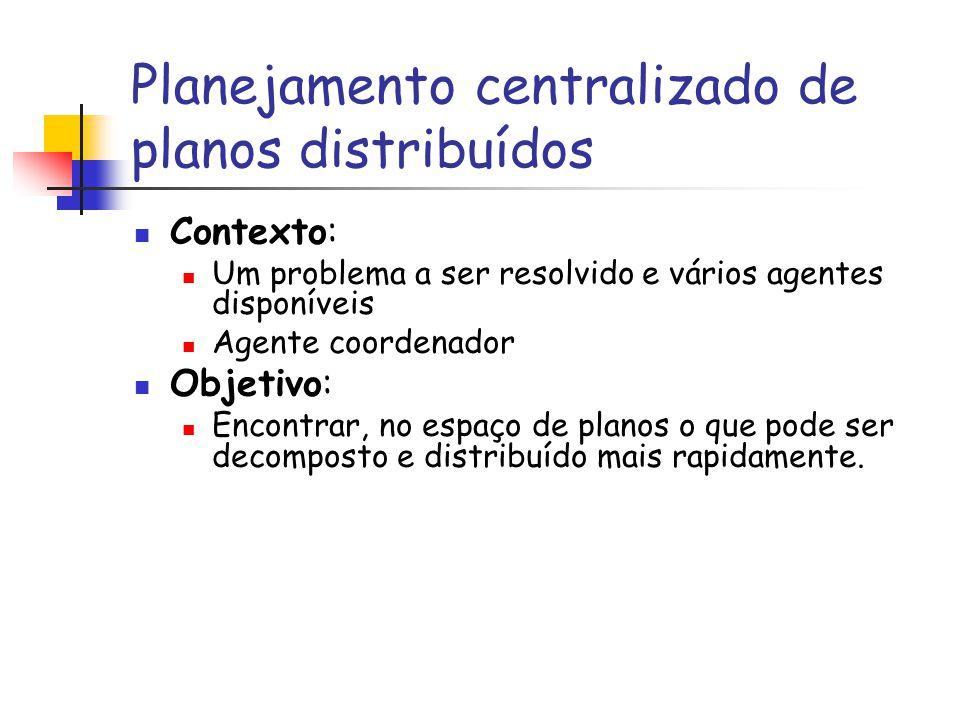 Planejamento centralizado de planos distribuídos Contexto: Um problema a ser resolvido e vários agentes disponíveis Agente coordenador Objetivo: Encon