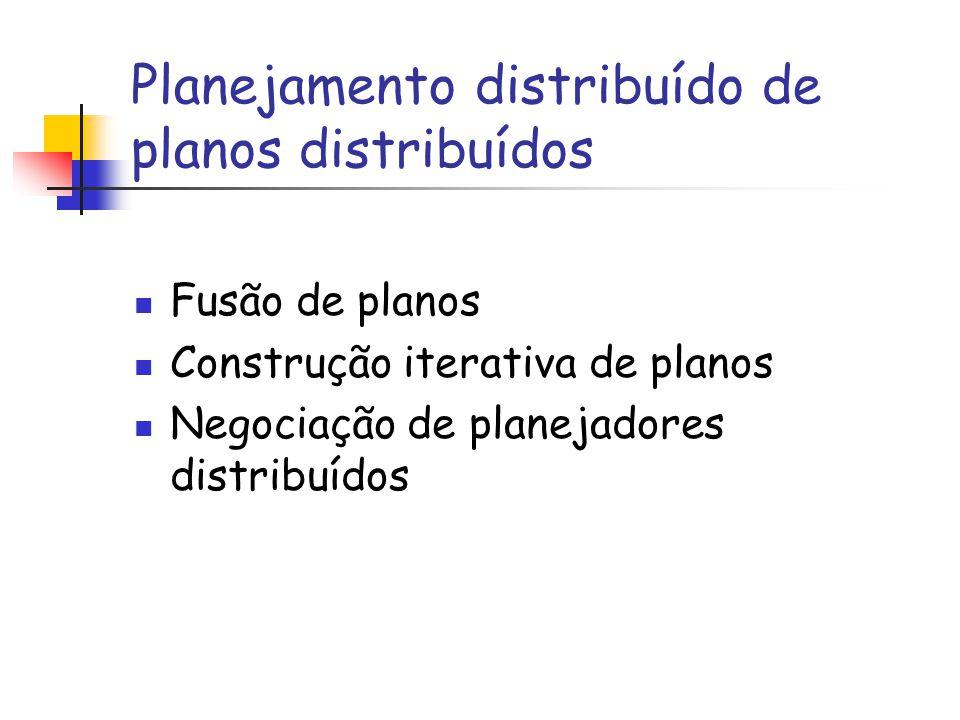 Planejamento distribuído de planos distribuídos Fusão de planos Construção iterativa de planos Negociação de planejadores distribuídos