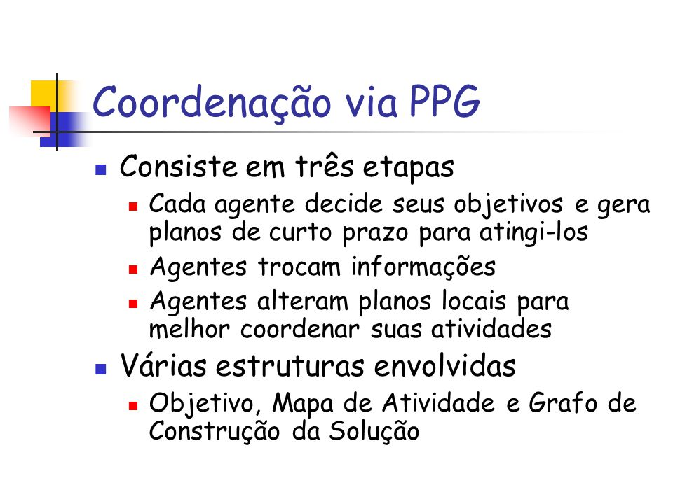 Coordenação via PPG Consiste em três etapas Cada agente decide seus objetivos e gera planos de curto prazo para atingi-los Agentes trocam informações