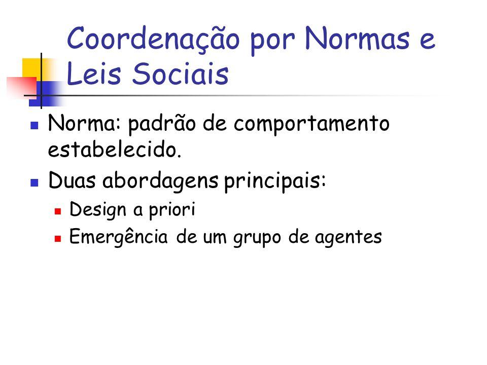 Coordenação por Normas e Leis Sociais Norma: padrão de comportamento estabelecido. Duas abordagens principais: Design a priori Emergência de um grupo
