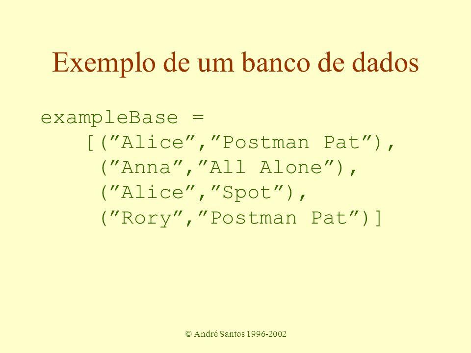 © André Santos 1996-2002 Exemplo de um banco de dados exampleBase = [( Alice , Postman Pat ), ( Anna , All Alone ), ( Alice , Spot ), ( Rory , Postman Pat )]