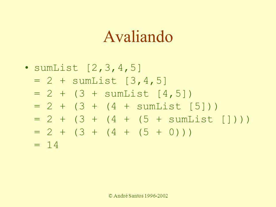 © André Santos 1996-2002 Outras funções sobre listas dobrar os elementos de uma lista double :: [Int] -> [Int] Membership: se um elemento está na lista member :: [Int] -> Int -> Bool filtragem: apenas os números de uma string digits :: String -> String soma de uma lista de pares sumPairs :: [(Int,Int)]->[Int]