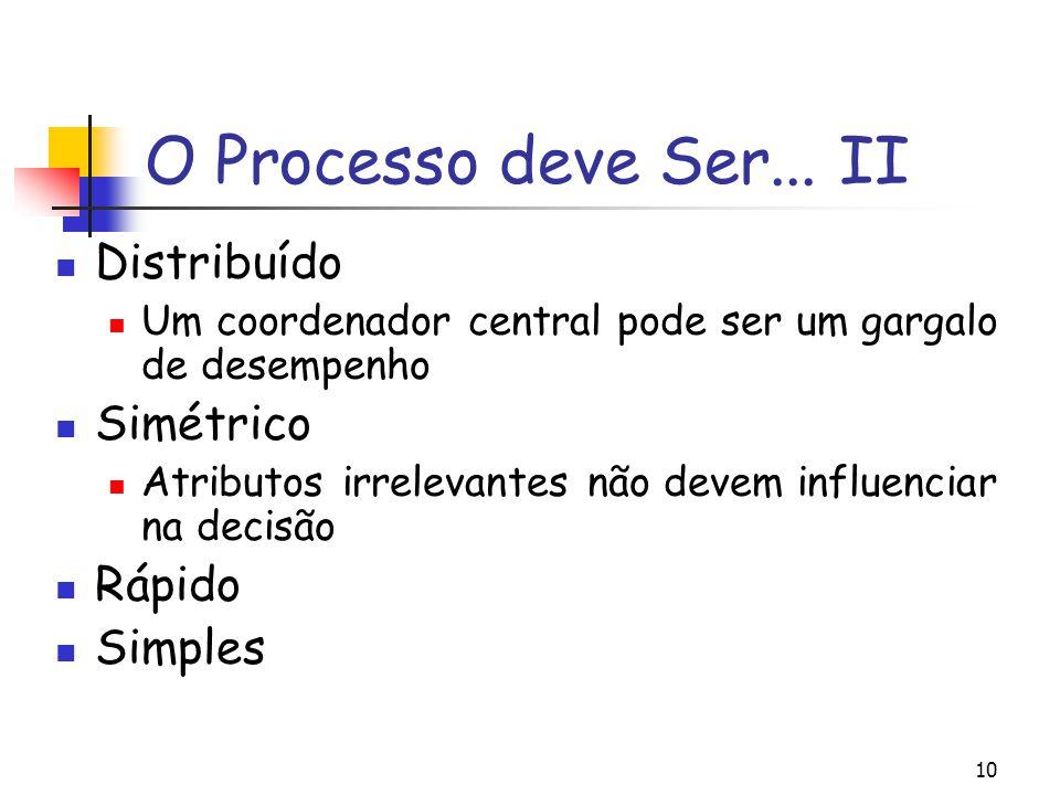 10 O Processo deve Ser... II Distribuído Um coordenador central pode ser um gargalo de desempenho Simétrico Atributos irrelevantes não devem influenci