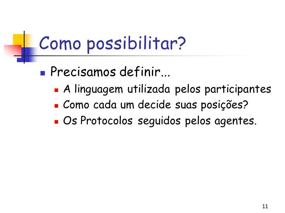11 Como possibilitar? Precisamos definir... A linguagem utilizada pelos participantes Como cada um decide suas posições? Os Protocolos seguidos pelos
