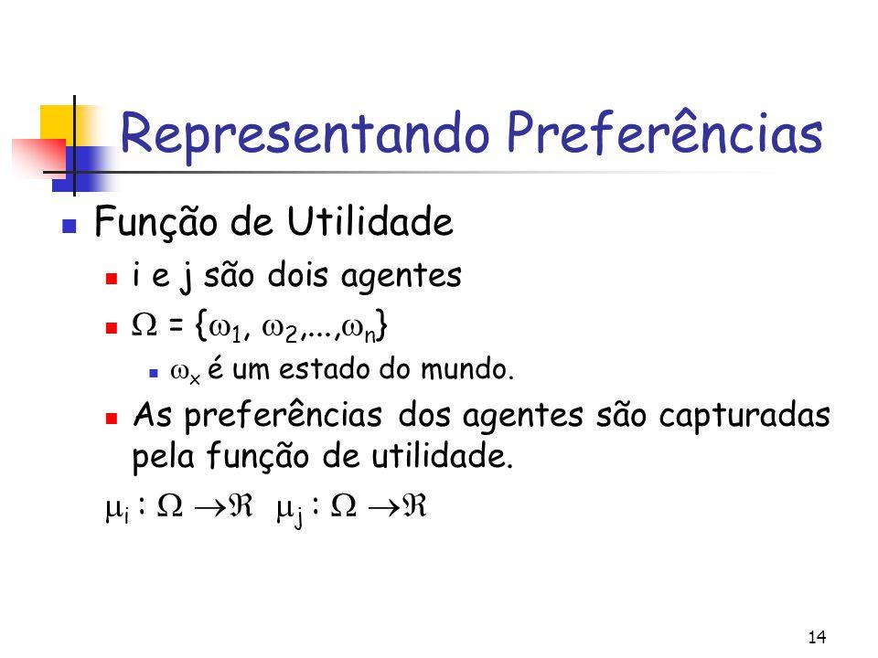 14 Representando Preferências Função de Utilidade i e j são dois agentes  = {  1,  2,...,  n }  x é um estado do mundo. As preferências dos agent