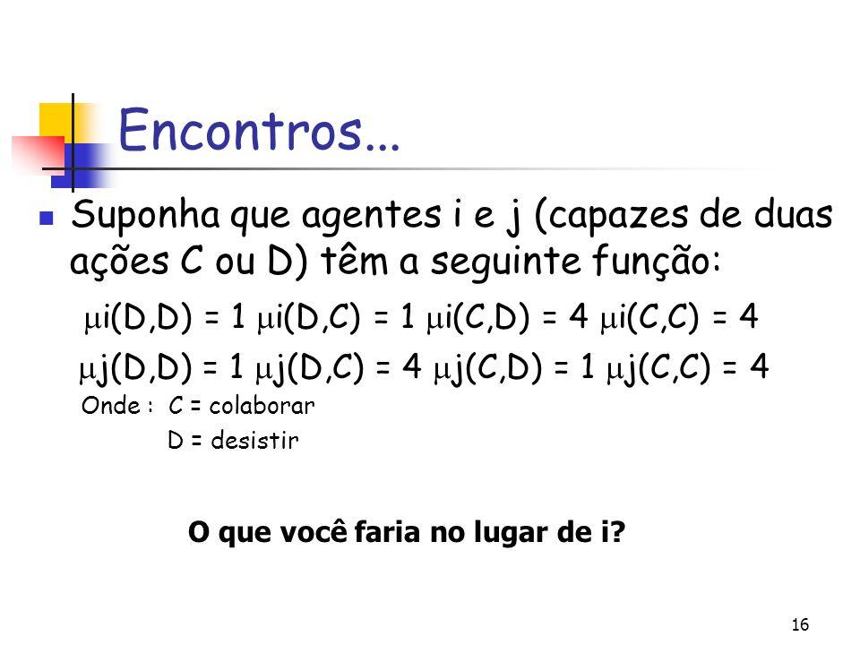 16 Encontros... Suponha que agentes i e j (capazes de duas ações C ou D) têm a seguinte função:  i(D,D) = 1  i(D,C) = 1  i(C,D) = 4  i(C,C) = 4 