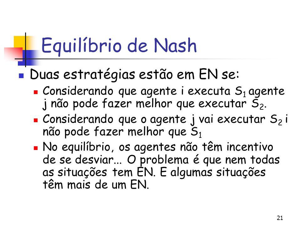21 Equilíbrio de Nash Duas estratégias estão em EN se: Considerando que agente i executa S 1 agente j não pode fazer melhor que executar S 2. Consider
