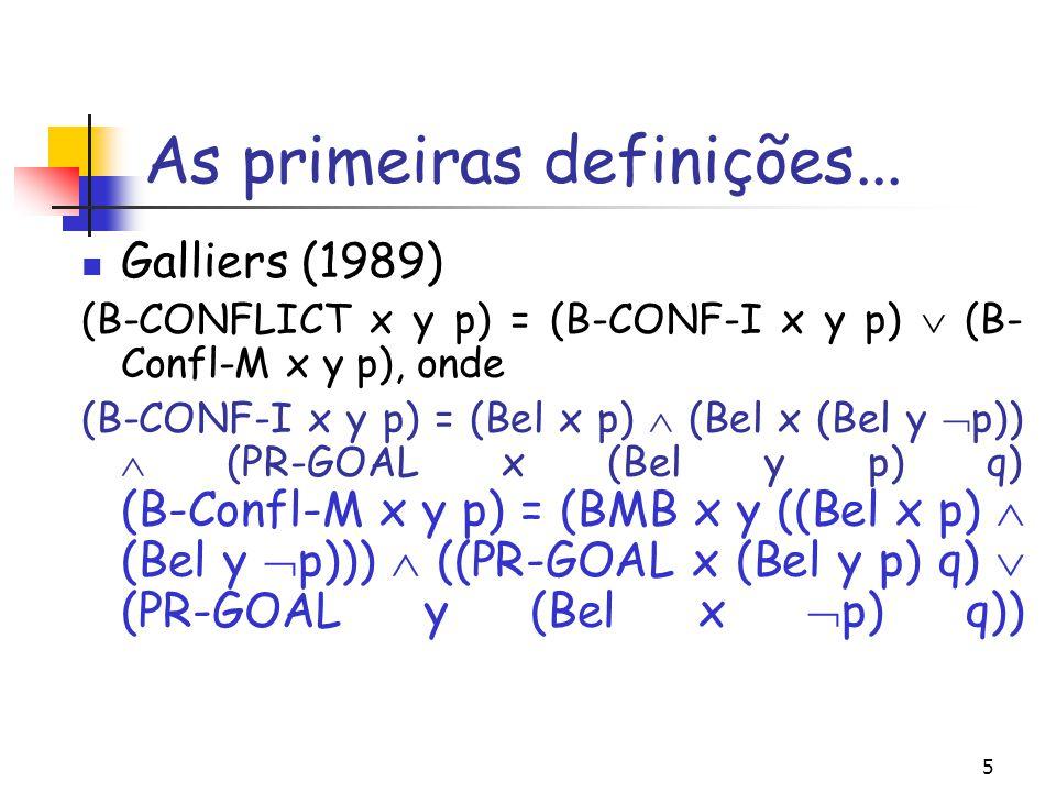 5 As primeiras definições... Galliers (1989) (B-CONFLICT x y p) = (B-CONF-I x y p)  (B- Confl-M x y p), onde (B-CONF-I x y p) = (Bel x p)  (Bel x (B