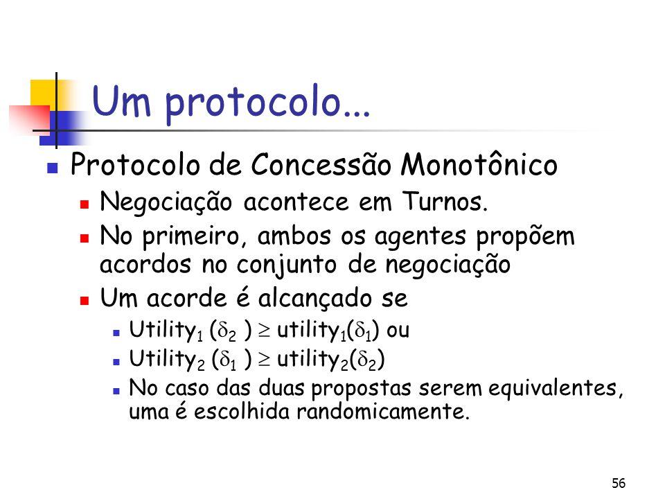56 Um protocolo... Protocolo de Concessão Monotônico Negociação acontece em Turnos. No primeiro, ambos os agentes propõem acordos no conjunto de negoc