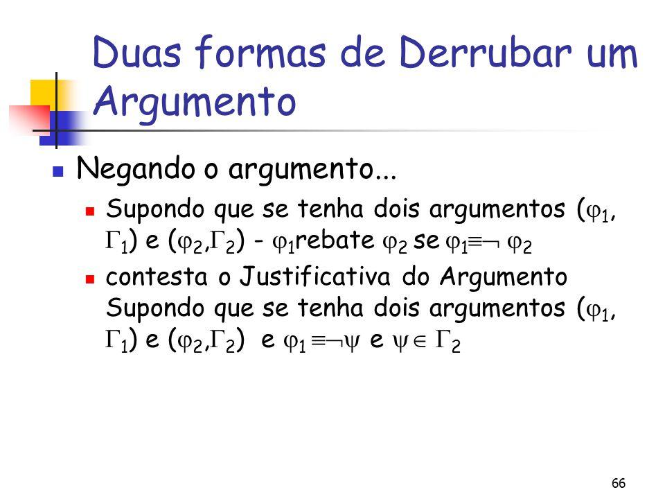 66 Duas formas de Derrubar um Argumento Negando o argumento... Supondo que se tenha dois argumentos (  1,  1 ) e (  2,  2 ) -  1 rebate  2 se 
