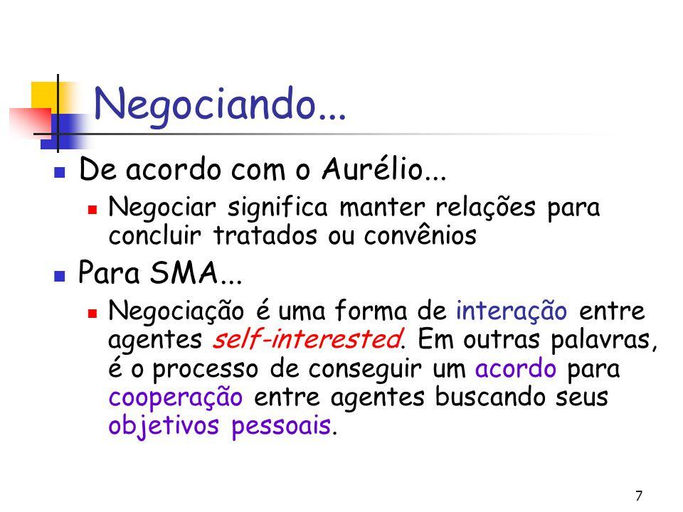 7 Negociando... De acordo com o Aurélio... Negociar significa manter relações para concluir tratados ou convênios Para SMA... Negociação é uma forma d