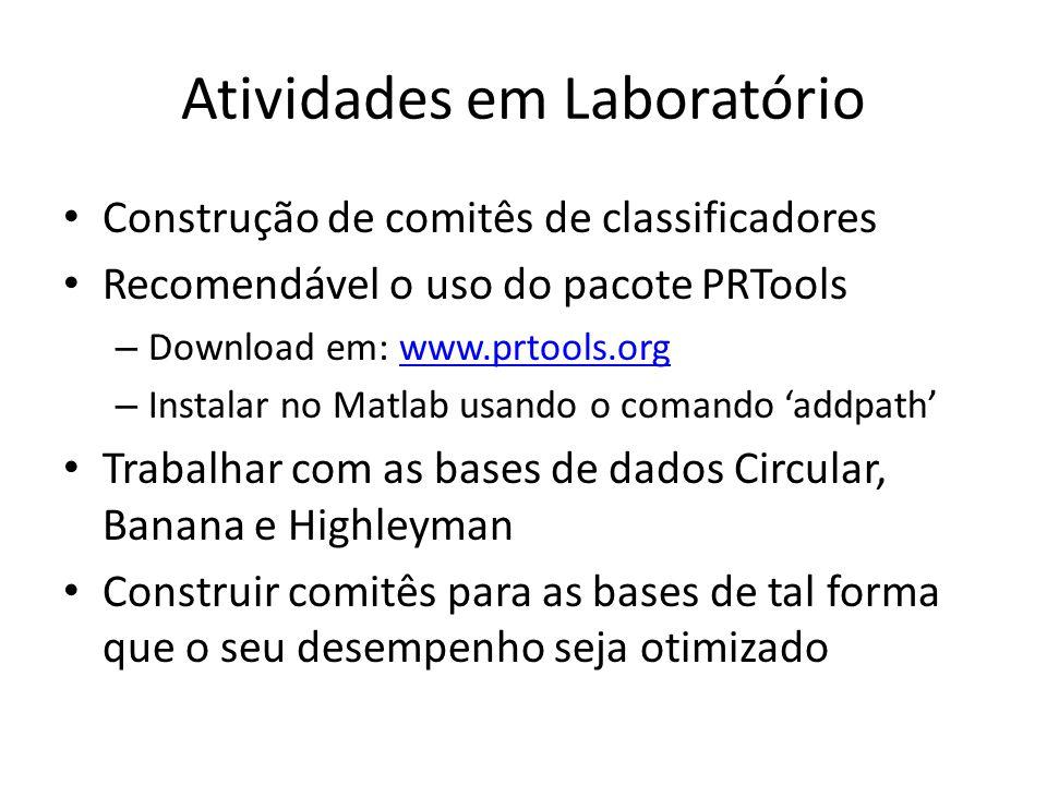 Atividades em Laboratório Construção de comitês de classificadores Recomendável o uso do pacote PRTools – Download em: www.prtools.orgwww.prtools.org