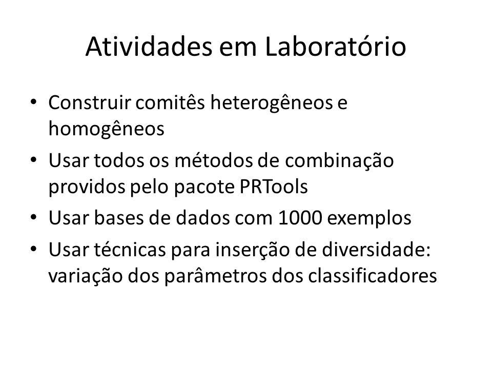 Atividades em Laboratório Construir comitês heterogêneos e homogêneos Usar todos os métodos de combinação providos pelo pacote PRTools Usar bases de d
