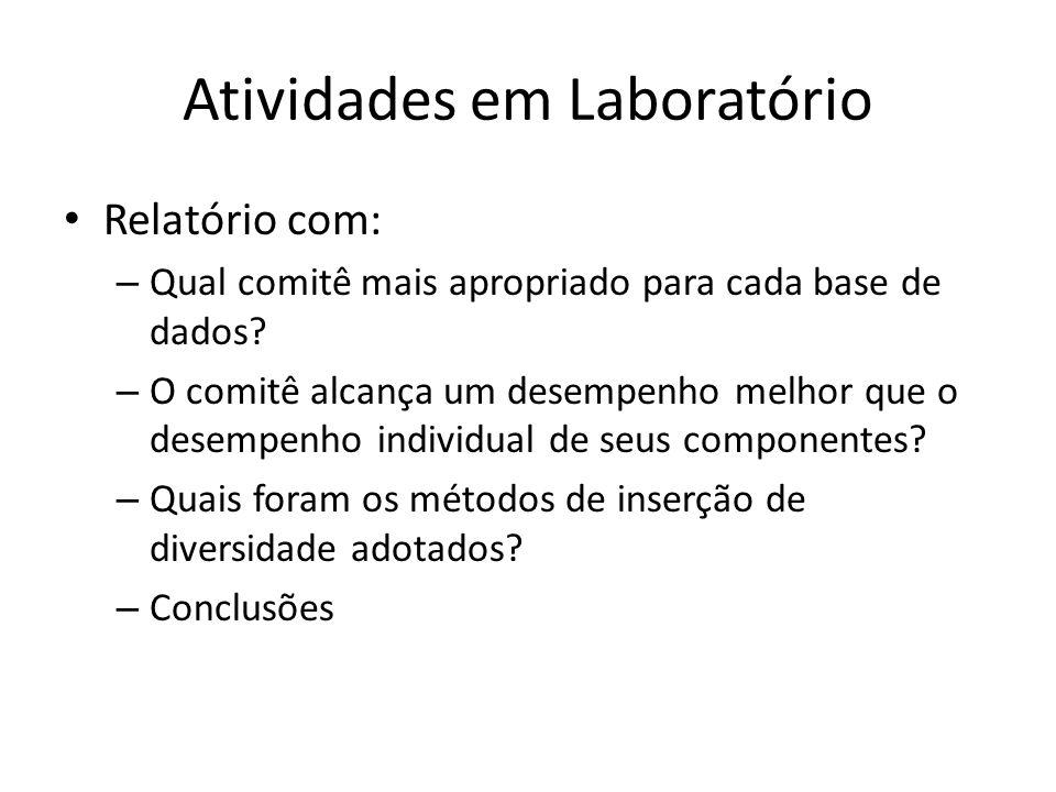 Atividades em Laboratório Relatório com: – Qual comitê mais apropriado para cada base de dados? – O comitê alcança um desempenho melhor que o desempen