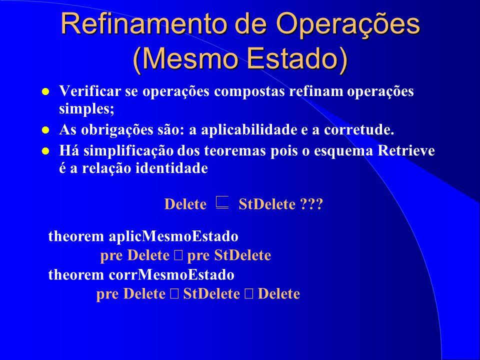 Refinamento de Operações (Mesmo Estado) l Verificar se operações compostas refinam operações simples; l As obrigações são: a aplicabilidade e a corretude.