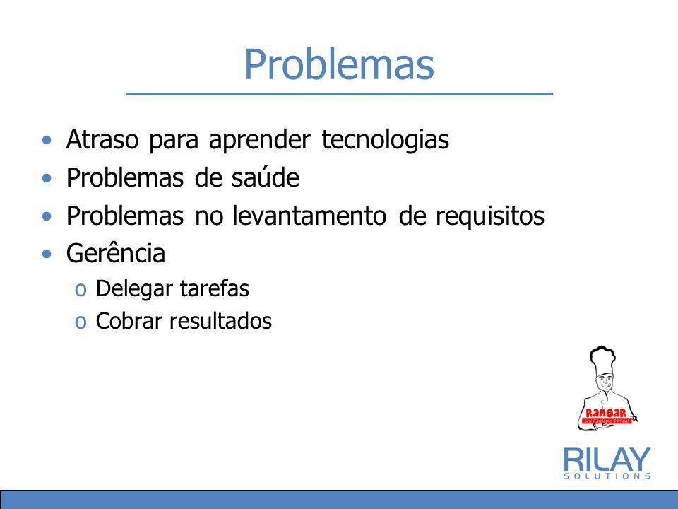 Problemas Atraso para aprender tecnologias Problemas de saúde Problemas no levantamento de requisitos Gerência oDelegar tarefas oCobrar resultados