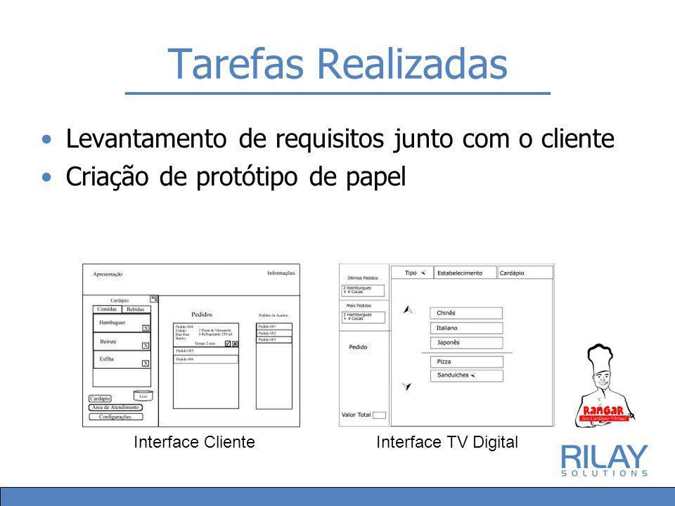 Tarefas Realizadas Levantamento de requisitos junto com o cliente Criação de protótipo de papel Interface ClienteInterface TV Digital