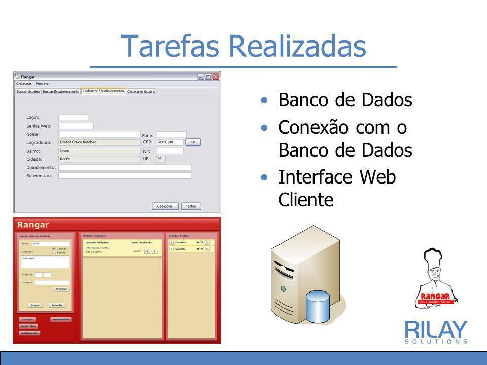 Tarefas Realizadas Banco de Dados Conexão com o Banco de Dados Interface Web Cliente