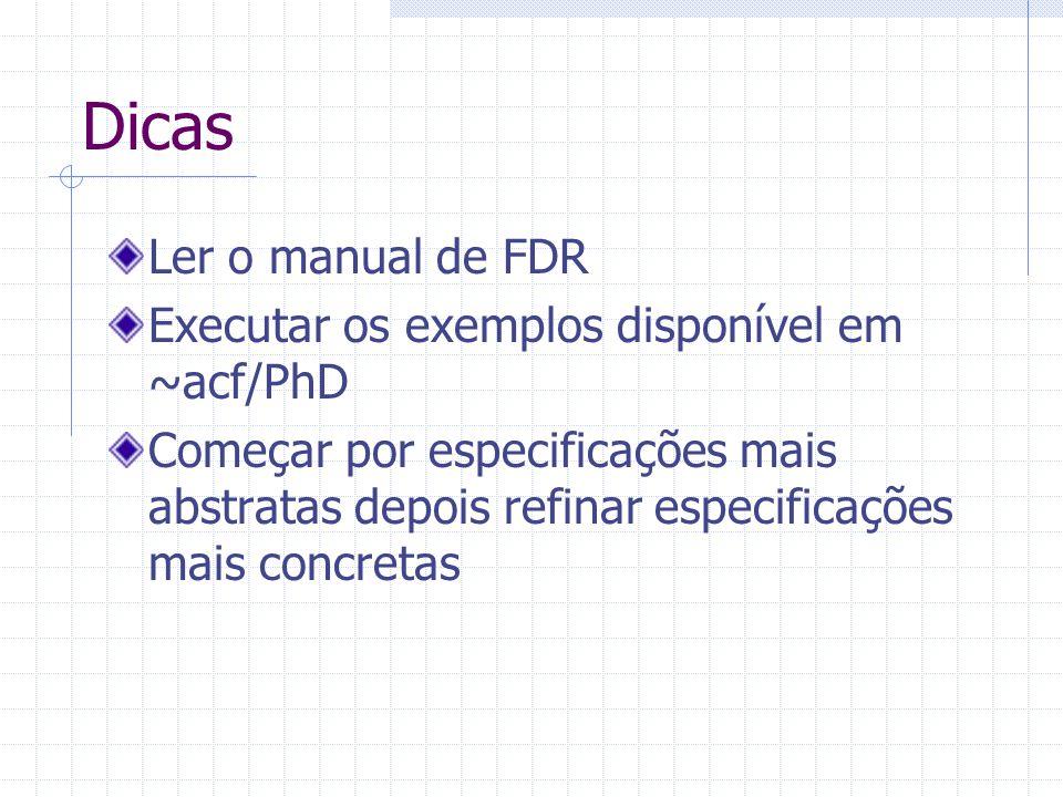 Dicas Ler o manual de FDR Executar os exemplos disponível em ~acf/PhD Começar por especificações mais abstratas depois refinar especificações mais concretas